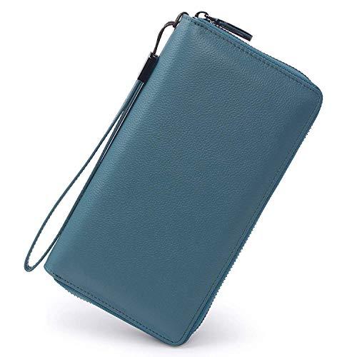 Portmonee Damen mit RFID Schutz Geldbeutel, Portemonnaie, Geldbörse, Brieftasche, Damengeldbeutel, Damengeldbörse lang groß viele fächer Leder Reissverschluss See blau