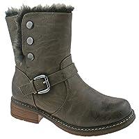 Cat Eyes Girls Stud Fastening Ankle Shoe/Boots - Brown PU, Older Kids UK 3 / EU 35