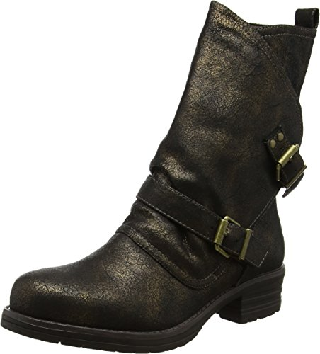 Joe Browns Women's Sassy Crackled Biker Slouch Boots, Black (Black/Bronze), 4 UK...