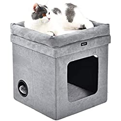 AmazonBasics - Casa para gato plegable, Gris