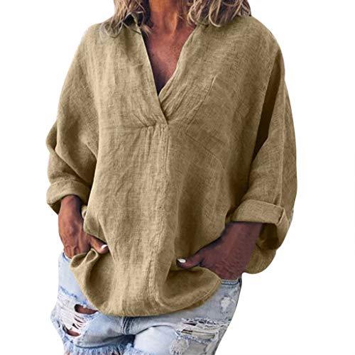 QINPIN Damen Mode Plus Size Solide Casual Leinen V-Ausschnitt Bluse T-Shirt großes, einfarbiges Baumwoll- und Leinenpullover mit V-Ausschnitt und 2/3 langem Ärmel Gelb M -