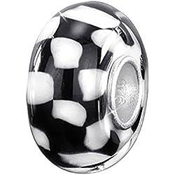 Materia 925 cuentas de plata objetos de cristal de Murano Colgante 'tablero de ajedrez' blanco y negro para European pulsera #1007