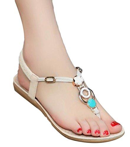 YOUJIA Sandales pour Femme lanière en T Bout rond été Bohemia Douces Strass perles Clip Toe Chaussures de Plage #1 Beige
