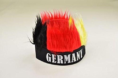 Karneval Kostüm Deutschland - Deutschland Stirnband mit Haaren Fasching Karneval Fastnacht für Kostüm Fußball Handball Artikel Gruppe Verein WM EM Haare Germany