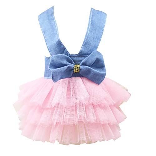 POPETPOP Haustier Prinzessin Kleid Gaze Puff Rock frischen Stil Haustier Outfit Frühling Sommer Haustier Bekleidung - Größe XXL (blau & weiß) Tutu Puff