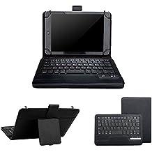 7–8Inch Universal Tablet Teclado caso, surom 2en 1inalámbrico Bluetooth teclado extraíble Windows Android iOS de maletines de viaje de piel funda soporte folio + soporte (negro)
