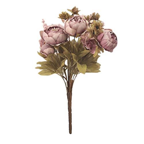 Wozow fiori artificiali,fiori finti,fiore di peonia artificiale per nozze,festa casa arredamento bouquet da sposa di fiori finti 1 pezzi d