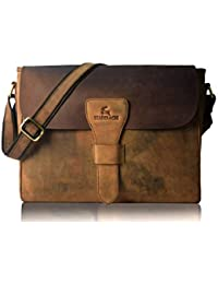 Leaderachi Hunter Leather Laptop Crossbody Messenger Bag [Brown]