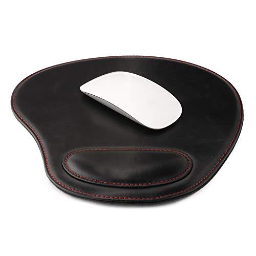 OTTO O218 Leder-Mauspad mit Handgelenkauflage, oval, Schwarz -