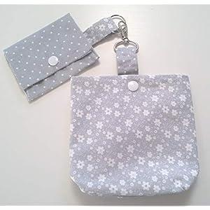 Futterbeutel und kleine Tasche mit Blumen Motiv Punkte Handarbeit Handmade
