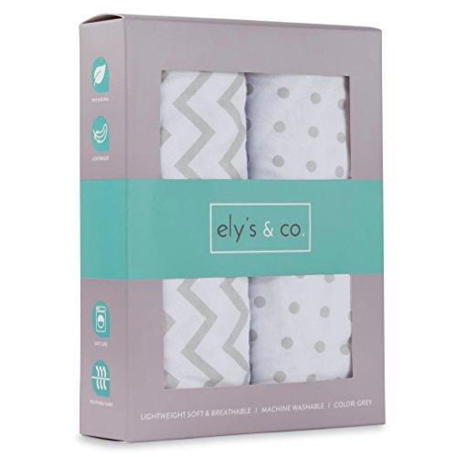 Ely ist & Co Stubenwagen-Bettlaken-Set 2Stück 100% Jersey Baumwolle für Baby Girl–Grau chevron und Polka Dot Baby-chevron Band