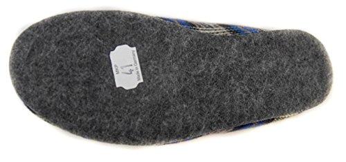 BTS filzpantoffeln allemande avec semelle en feutre bleu à carreaux taille 37–48 Bleu - Bleu