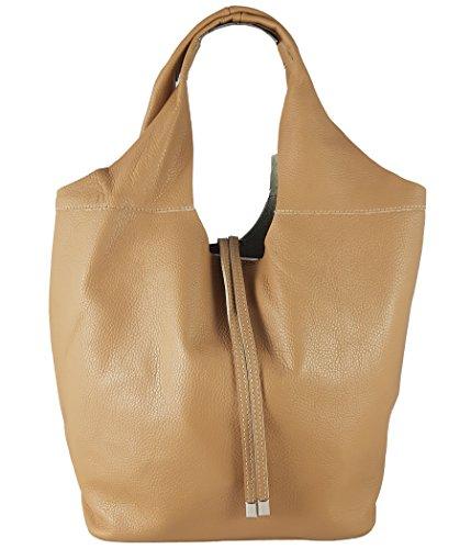 Freyday Echtleder Shopper mit Schmucktasche in vielen Farben Schultertasche Damen Henkeltasche (Hellcognac)