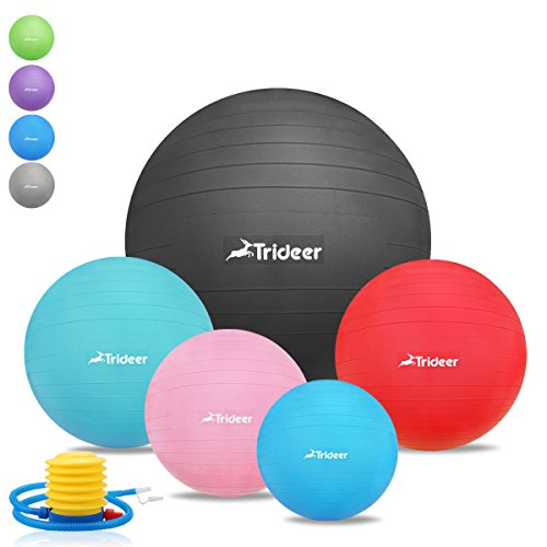 #45cm bis 85cm Dick Anti-Burst Gymnastikball inklusive Ballpumpe, TRIDEER 2000lbs Maximalbelastbarkeit, Robuster Sitzball Pezziball Swissball Fitnessball, Frosted Oberfläche Rutschfest Hochwertig Fitness Exercise Ball, Core Fitness Strength Workout Body Balance Balancing Yoga Pilates Swedish Ball, für Core Zerkleinern von Übungen Yoga Core Cross Train Training Physical Therapy Work Desk Office für Damen Herren Frauen Manner (Sizes come in 45 55 65 75 85cm)#