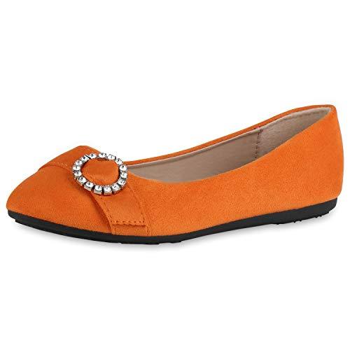 SCARPE VITA Damen Klassische Ballerinas Wildleder-Optik Schuhe Elegante Slip Ons Strass Schnalle Flache Abendschuhe 182721 Orange Strass 40 - Frauen Ballerinas Schuhe Orange