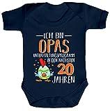 ShirtStreet Lustige Geschenkidee Vatertag Strampler Bio Baumwoll Baby Body kurzarm Jungen Mädchen Opas Unterhaltungsprogramm, Größe: 6-12 Monate,Nautical Navy