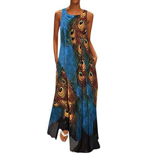 Kleid Damen Sommer Elegant Sling Party Dress Cocktail Plus Size Maxi Kleid Frauen Vintage O Neck SpleißEn Floral Bedruckt äRmellos blau XXXL (Vintage-stil-cocktail-kleid Plus)