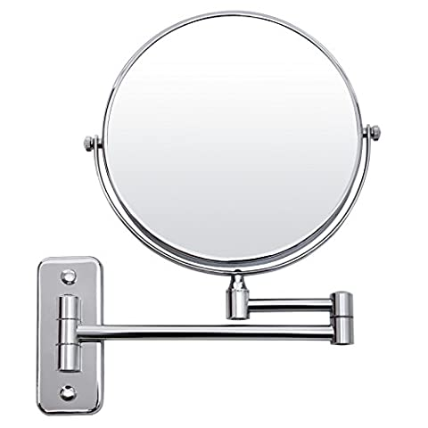 Songmics 7x Magnification Makeup for Mirror Cosmetic Mirror for Beauty Shaving Mirror 360° Swivel (Metallo Rotonda Panca)