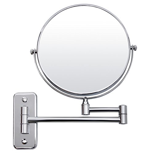 Songmics BBM713 Miroir de maquillage Grossissement 7x + normal 20 cm Miroir double face à fixation murale