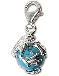 SilberDream Charms - Charm Grenouille Boul turquoise pour charms colliers bracelets boucles d'oreilles - Argent 925 Sterling - FC244T