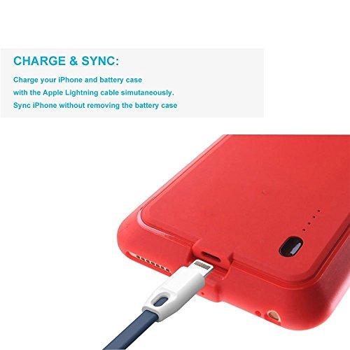 ROOP iPhone 6 /6S-Cover Ultra Slim con batteria per ricarica con 2,000mAh-Batteria ad alta capacità, per iPhone 6 /6S Red