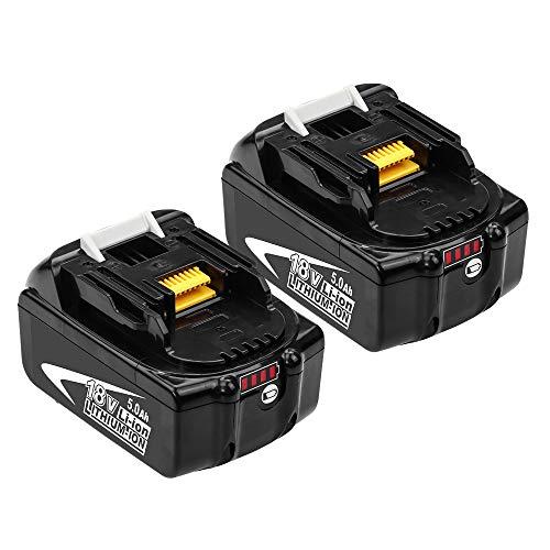 2 Stück GatoPower BL1850B 18V Li-ion Ersatz-Akku für Makita 5Ah BL1860 BL1845 BL1835 BL1825 BL1850 BL1860B BL1840 194205-3 194309-1 Akku-Bohrmaschine mit LED-Anzeige