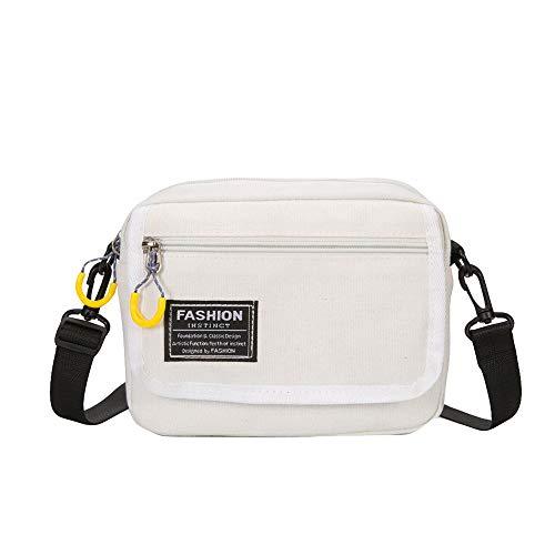Bfmyxgs Mode Umhängetasche für Frauen Mädchen Feste Reißverschluss Weiche Leinwand mit Innen Reißverschlusstasche Reine Farbe Lässig Tote Outdoor Bag Canvas Handtasche Reißverschluss Umhängetasche -