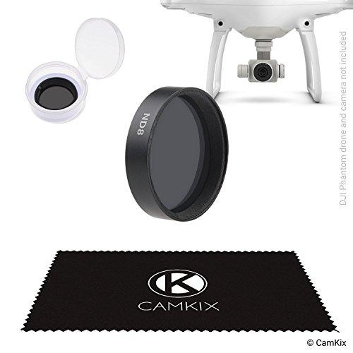 CamKix ND8 Filter für DJI Phantom 4 und 3* - Mit einem CamKix Neutralfilter (ND8), einem Filteraufbewahrungsbehälter und einem CamKix Reinigungstuch - Besseres Videomaterial für kürzere Verschlusszeiten in hellem Licht