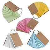 Dabixx Anneau à Reliure en Papier Kraft Easy Flip Flash Cards Études Mémo Pads Papeterie DIY