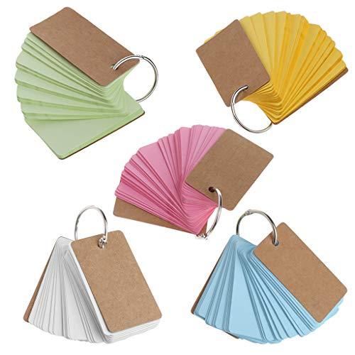 Jiamins 1 Stück Kraftpapier Binder Ring Easy Flip Flash Karten Notizblöcke 50 Seiten (Kraftpapier Binder)