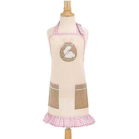 Motivo: coniglietto di Pasqua, colore: rosa e bianco a quadretti Linen-Grembiule da cucina per bambini