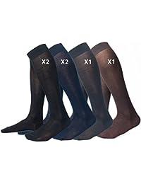 Ciocca Calcetines Hasta la rodilla hombre, 100% algodón mercerizado Filo di Scozia de alta calidad - 6 pares - tres tallas