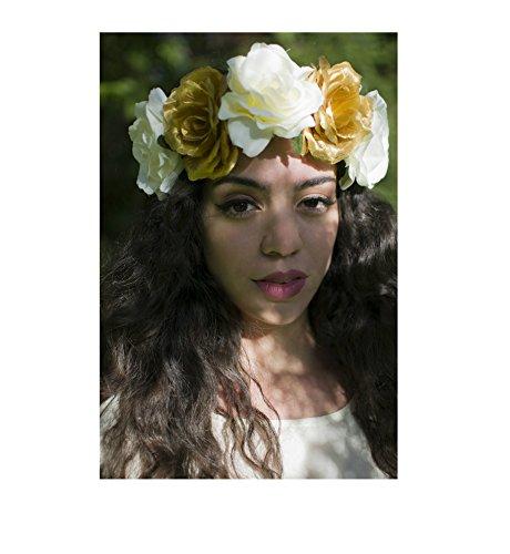 Grand Crème & Or rose cheveux fleur couronne bandeau Festival BLANC Big VTG/T98/* * * * * * * * exclusivement vendu par – Beauté * * * * * * * *