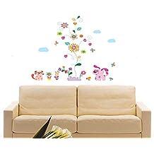 ufengke® Coloridas Enredaderas de Flores y Perrito Encantador Pegatinas de Pared, Vivero Habitación de los Niños Removible Etiquetas de la pared / Murales