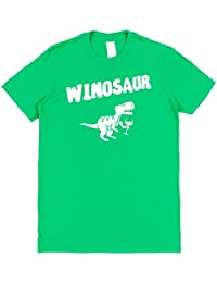 Click My Clobber Mens, T-Shirt, Winosaur Dinosaur T Rex Wine Lover