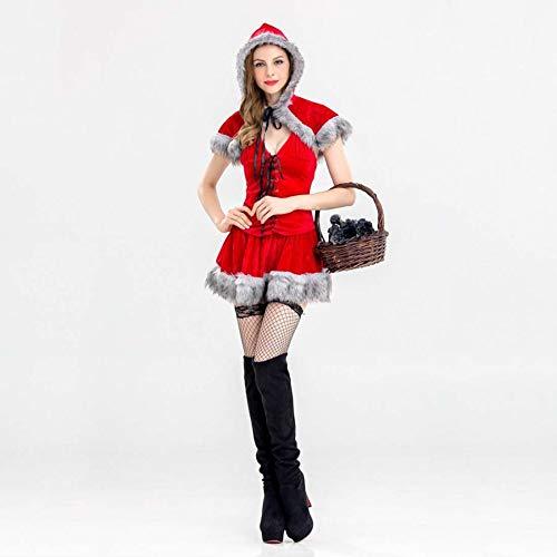 (SPFAZJ Europäische und amerikanische Weihnachten Weihnachten Kleidung Rollenspiel einheitliche Versuchung Party Little Red Riding Hood Co. Stume)