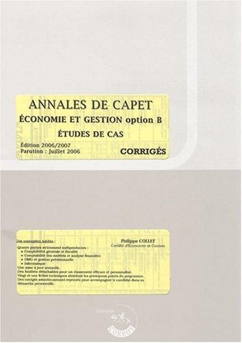 Annales de CAPET Economie et gestion option B études de cas : Corrigés