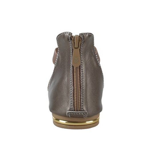 TAOFFEN Damen Comfortable Criss Cross Shoes Open Toe Zipper Solid Flach Sandalen Champagne