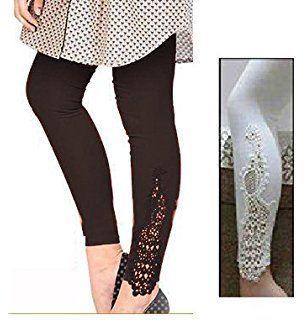 Patch leggings:combo pack of two(black+white)colour designer peacock patch lace ankle length leggings for women in free size(new arrivals)