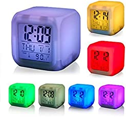 Cpixen Atam Andalso Square Color Changing Digital LCD Alarm Table Desk Clock with Calender, Time, Temperature, Lights