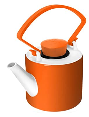 QDO Théière cylindrique en porcelaine orange