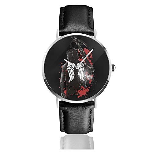 Unisex Business Casual Walking Dead Daryl Dixon Flügel und Armbrust Uhr Quarz Leder Uhr mit schwarzem Lederband für Männer Frauen Junge Kollektion Geschenk