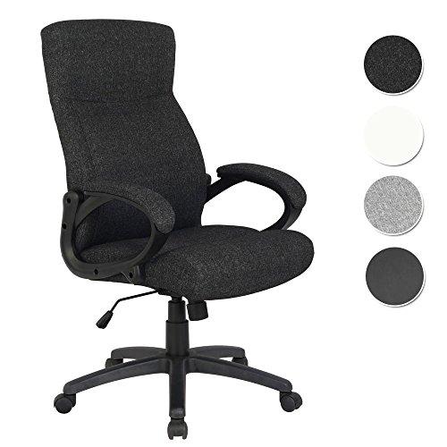 SixBros. Bürostuhl Chefsessel Drehstuhl Schreibtischstuhl Stoff Schwarz - HLC-0311-1/2166