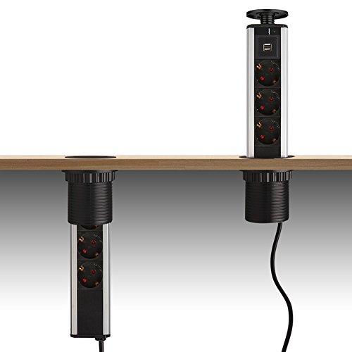 Dazone 3 Fach versenkbare Steckdosenleiste Steckdose Tischsteckdose mit 2x USB,Schwarz
