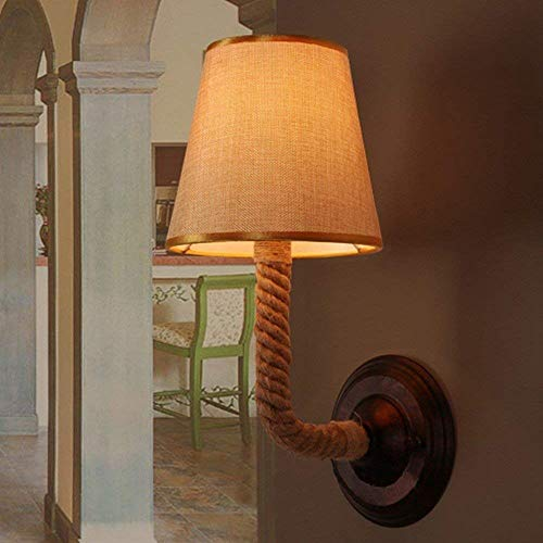 YQJJZX Schlafzimmer Wandleuchte Leuchte Vintage rustikale Hanfseil Wandleuchte Lichter Indoor Outdoor -