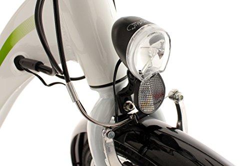 Adore Damen Alu City Pedelec Versailles E-Bike 250 Watt Li-Ion 36V/10,4 Ah 6 Gänge Fahrrad, Weiß-Grün, 28 -