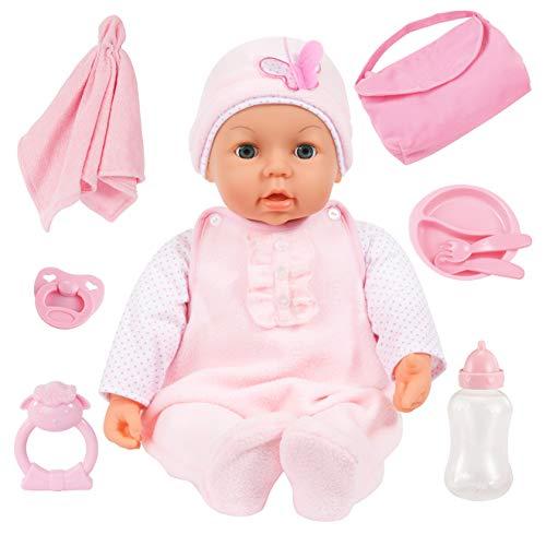 Bayer Design 94694AD Funktionspuppe, Interaktive Piccolina Magic Eyes inkl. Zubehör, Puppe schließt die Augen, spricht, 46cm, Soft-pink