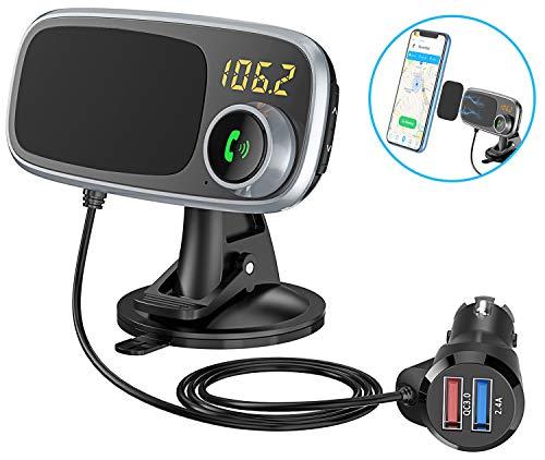Bovon Bluetooth FM Transmitter & Magnet Handyhalterung Auto Saugnapf, 2 in 1 Bluetooth Adapter Auto mit 2 USB Anschlüsse KFZ Ladegerät: Quick Charge 3.0 + 5V/2.4A, 360° Rotation Auto Handyhalter