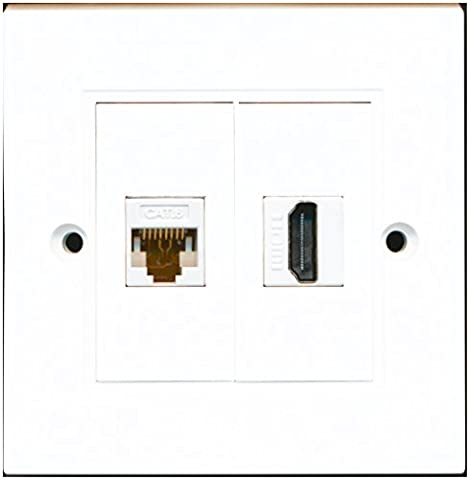 RiteAV - 1 Port HDMI 1 Port Cat6 Ethernet White Wall Plate