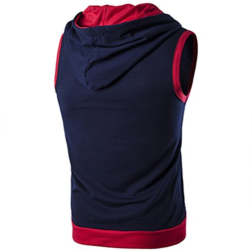 Zhuhaitf weich Men's High Quality Sleeveless Drawstring Hoodies Fitness Casual Top Dark Blue